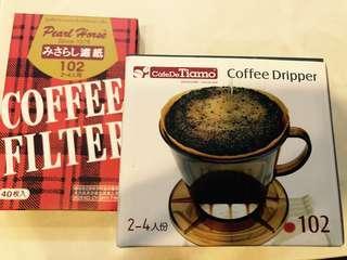 🚚 Tiamo 102 咖啡濾杯+濾紙40枚