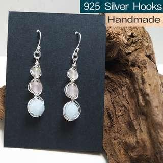 Aquamarine, rose quartz, gobi jade wire wrap handmade earrings in wand design/ 925 silver hooks, tarnish resistant wires