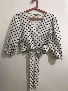 Polka Sexy Top With Ribbon at Back