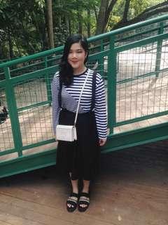 Long black overall skirt