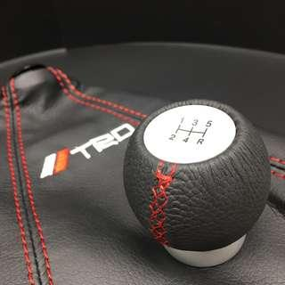 TRD leather M/T Gear Knob c/w with Sports Red stitches shifter boot cover