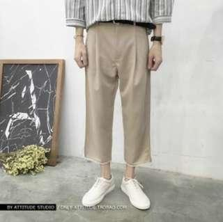 Khaki Ankle Length Cropped Trousers
