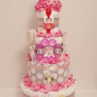 Tiered custom made baby girl diaper cake!