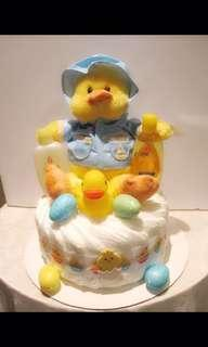 Baby boy duck themed diaper cake!