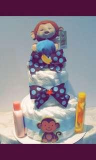 Three tier baby boy diaper cake!