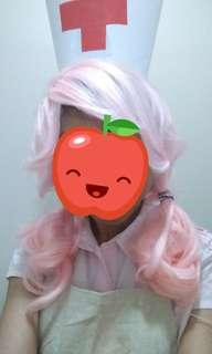 Light pink curly wig with bangs (used once)