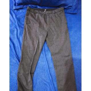 H&M skinny fit pants - black-grey pattern