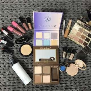 Huge lot of high end make-up , new and used , Tarte, Cover FX, Mac, Too Faced, Anastasia Beverly Hills, and more