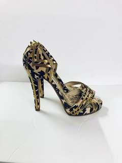 KENZO Canvas Leather Peep Toe Heels, Designer, Italy Size 40, Animal Print