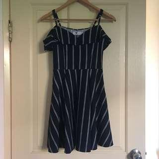 Navy Stripe Off-shoulder Dress