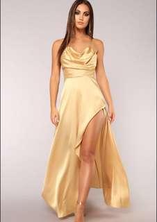 Gold satin gown w/ slit