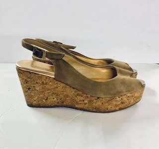 Jimmy Choo Cork Wedge Sandals, Brown Suede Sandals, Size 37 Size 7