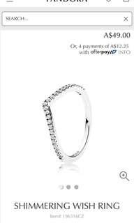 Pandora wishbone ring size 52