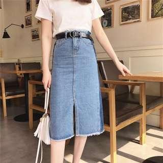 Denim Midi Skirt Colourblock Slit