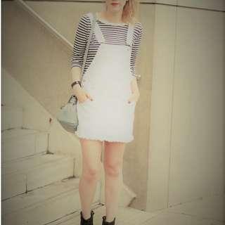 #OCT10 🆕Cotton On White Denim Dungaree Dress