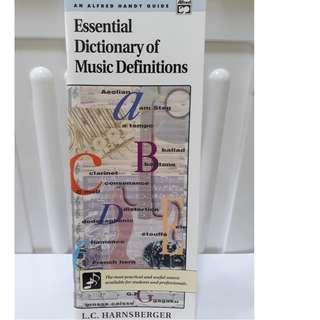Essential dictionary of music definitions. music book. Music guide. Dictionary