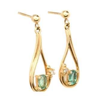 Beautiful Estate Diamond Emerald 14K Yellow Dangle Earrings ( In Good Condition)