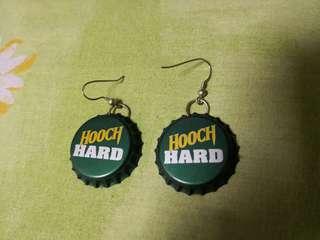 Beer cap  earrings (hooch hard wording)