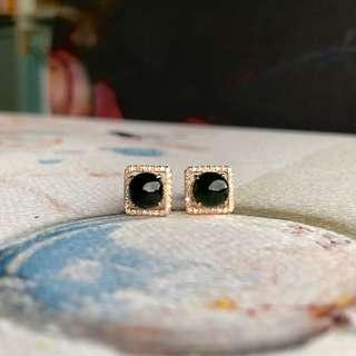 Icy A-Grade Type A Natural Omphacite Jadeite Jade Earring Stud (18k Rose Gold and Diamonds) No.180096