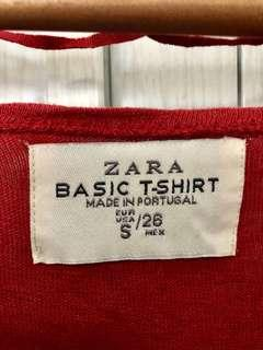 ZARA Plain Basic Red Top