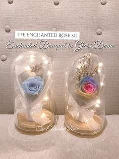 🚚 Enchanted Bouquet/flowers: Preserved rose in Glass dome. Lasts for years without water & sunlight