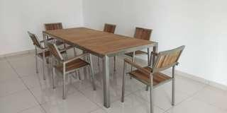 Team wood table set with 6 chairs