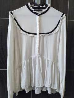 Baju putih list hitam ZARA