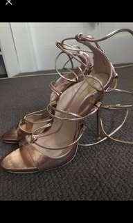 Miss Pap - Rose Gold Lace Up Heels size 9