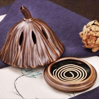 Incense holder mosquito coil tray scent burner zen pod