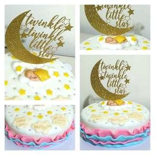 Baby Shower Fondant Cake with Customized Glitter Gold Topper
