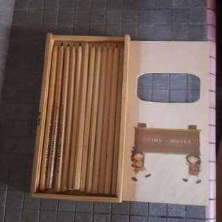 #single11 Wooden Box of Colour pencils