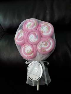 12 pack flower lollipop wash cloth