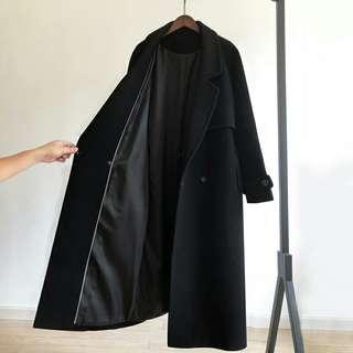 🚚 【實拍🔥🔥】韓 羊毛黑色毛呢繫帶大衣 中長款 過膝外套女裝 赫本風 大衣 嚴選保暖大衣【XS-2XL】