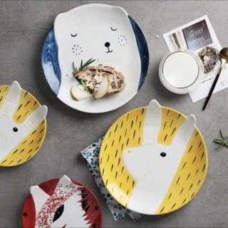Animal plates polar bear rabbit bunny fox kids children ceramic big small