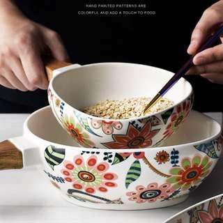 Floral bowl with wooden handle wood ceramic food noodle rice salad