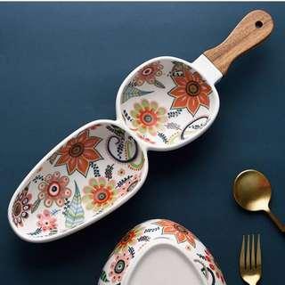 Sauce bowl split double handle wood wooden floral jam dips dip teabag holder
