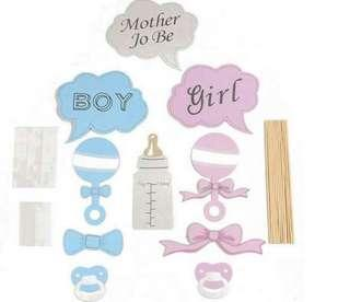 (27/10) Gender reveal baby boy / baby girl  Cake Toppers/ Baking Supplies / Cupcake toppers / photo props