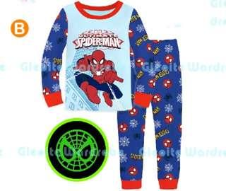 🚚 Batman spiderman Pyjamas set glow in the dark