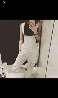 White Overall Jeans