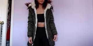 Army Green Fur Hood Winter Jacket Coat