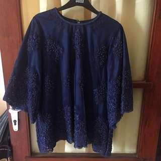 Navy blouse with full beads/payet