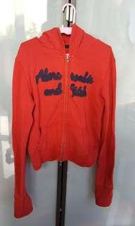 Beautiful Abercrombie & Fitch red hooded Cardigan