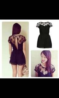 Miss Selfridge Black Lace Playsuit