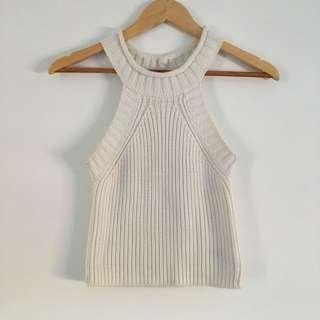 Bardot knitted crop in white