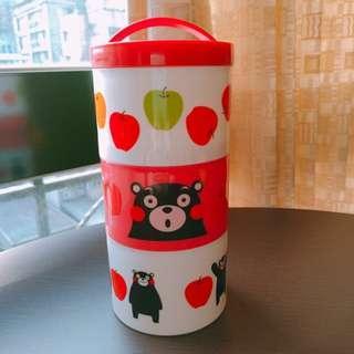 🚚 熊本熊日製三層圓形便當盒