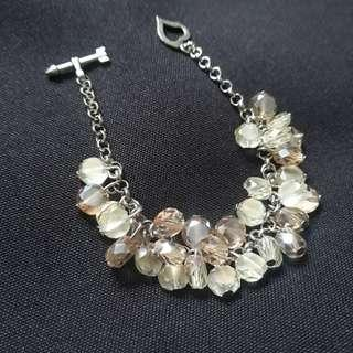 Yellow and Peach Crystal Cluster Bracelet