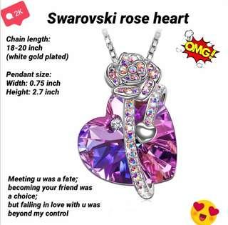 🚚 Rose heart Swarovski crystal necklace