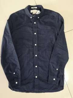 H&m logg navy blue regular fit shirt