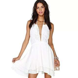 [BNWT]White Deep V Lace Dress #oct10