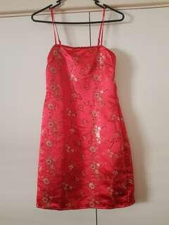 Red Oriental Print Jacquard Bodycon Dress Size 6/XS